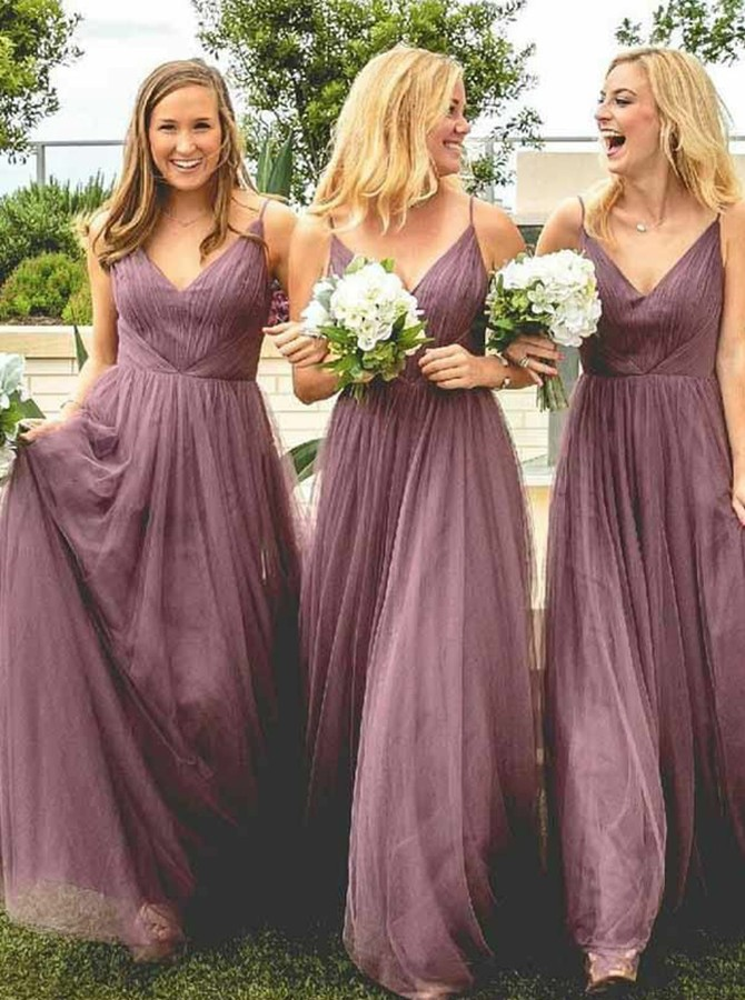 A-Line Spaghetti Straps Floor-Length Bridesmaid Dress with Pleats