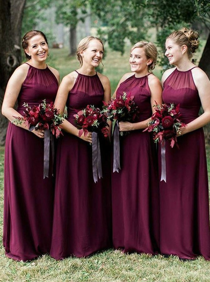 A-Line Halter Floor-Length Wine Bridesmaid Dress with Pleats