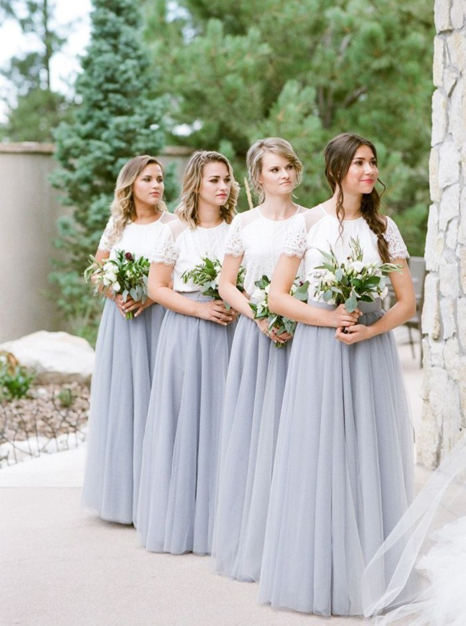 Two Piece Crew Short Sleeves Floor-Length Light Grey Bridesmaid Dress with Lace