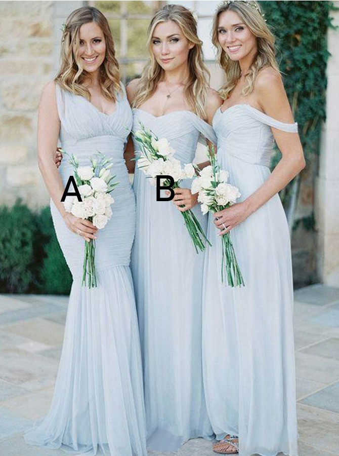 Mermaid V-Neck Sweep Train Tulle Bridesmaid Dress with Pleats