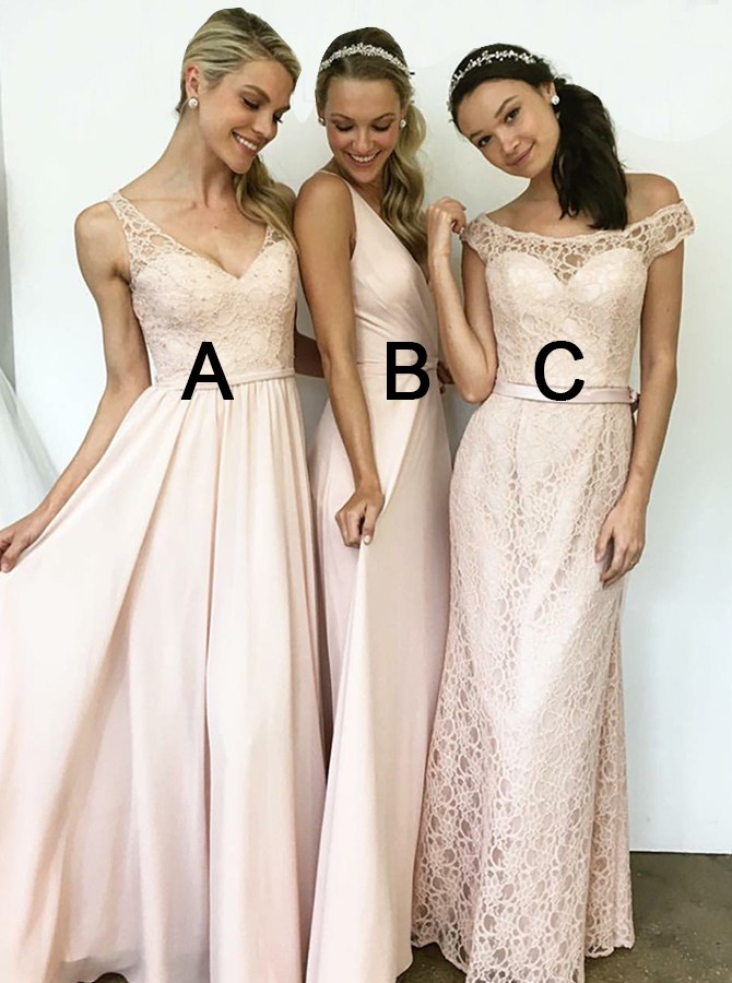A-Line V-Neck Floor-Length Pink Bridesmaid Dress with Lace Beading