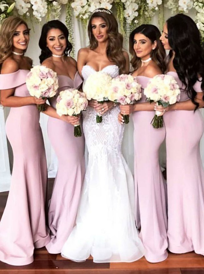 Mermaid Off-the-Shoulder Sweep Train Pink Bridesmaid Dress with Split