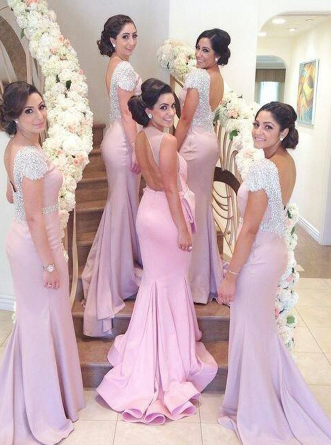 Mermaid Bateau Backless Sweep Train Pink Bridesmaid Dress with Beading