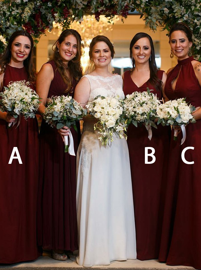 A-Line Round Neck Floor-Length Burgundy Chiffon Bridesmaid Dress with Pleats