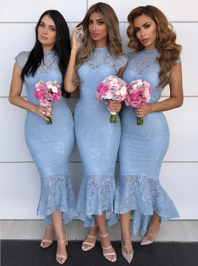 Mermaid Jewel Cap Sleeves High Low Blue Lace Bridesmaid Dress