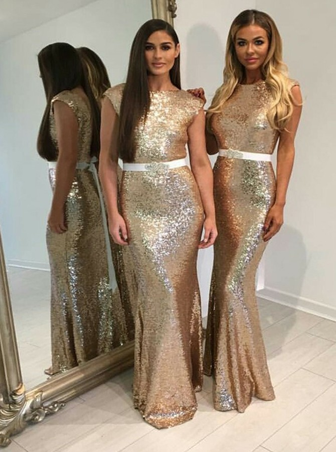 Mermaid Bateau Backless Gold Sequined Bridesmaid Dress with Sashes