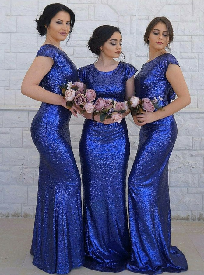 Mermaid Round Neck Sweep Train Royal Blue Sequined Bridesmaid Dress