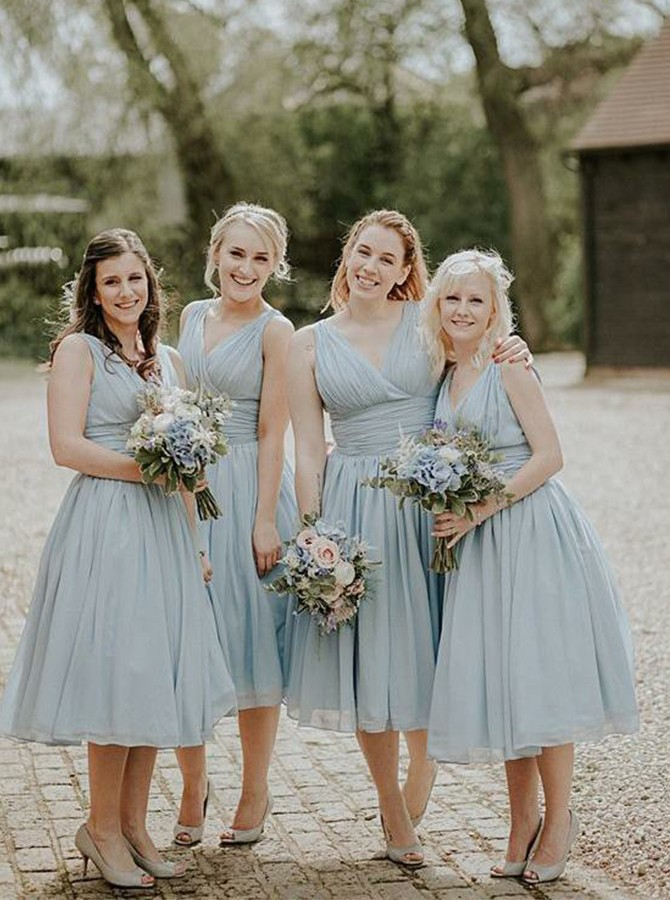A-Line V-Neck Mid-Calf Chiffon Bridesmaid Dress with Pleats