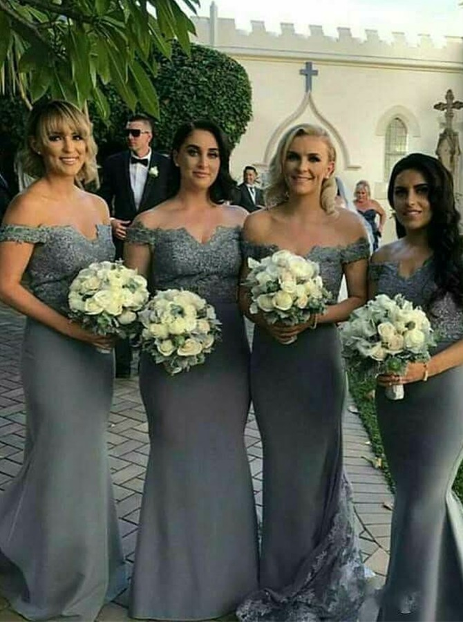 Mermaid Off-the-Shoulder Grey Sweep Train Bridesmaid Dress with Lace