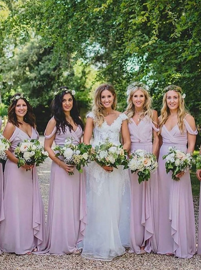A-Line Cold Shoulder Floor-Length Bridesmaid Dress with Pleats