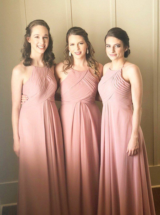 A-Line Halter Floor-Length Pink Bridesmaid Dress with Pleats
