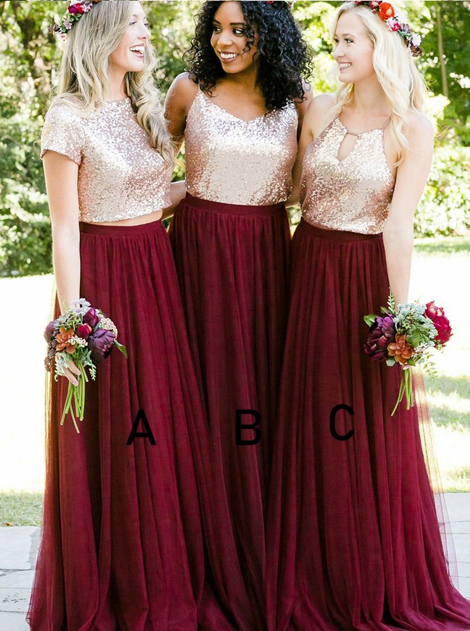 A-Line Round Neck Floor-Length Short Sleeves Bridesmaid Dress with Sequines