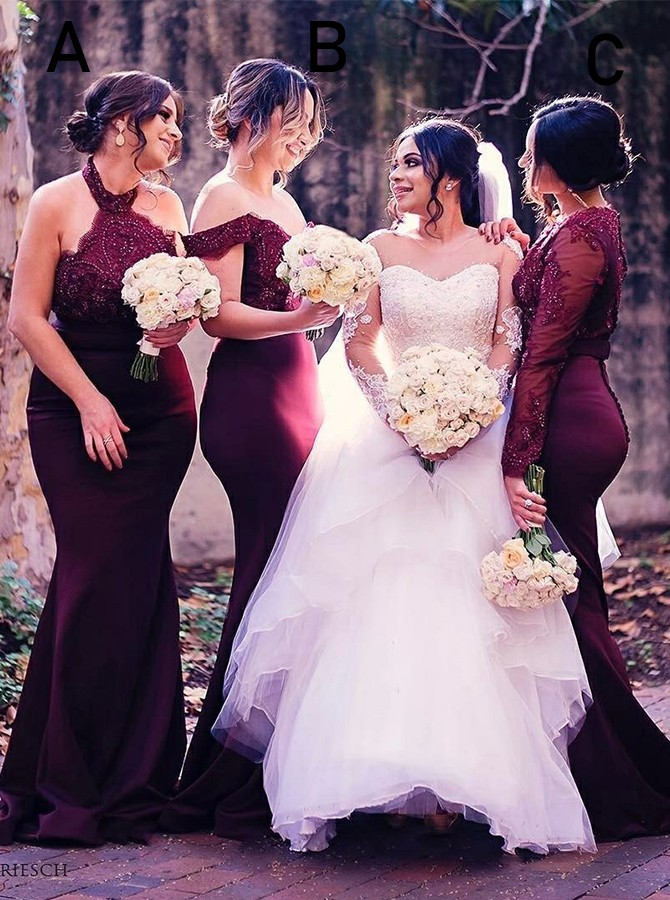 Mermaid Long Halter Burgundy Bridesmaid Dress with Lace Beading
