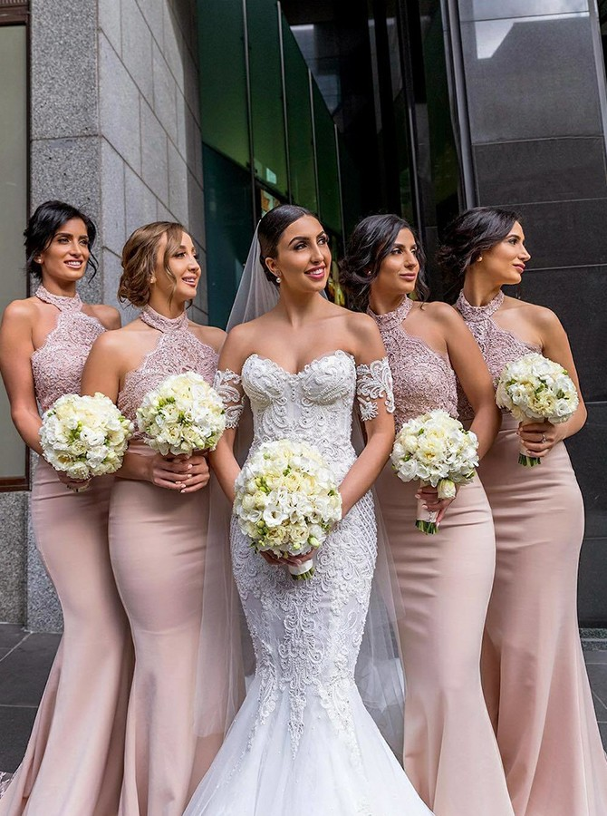Mermaid Sweep Train High Neck Bridesmaid Dress with Lace