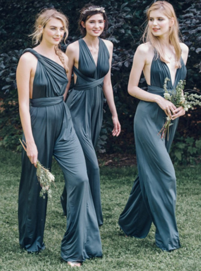 Sheath Convertible One-Shoulder Backless Chiffon Bridesmaid Jumpsuit