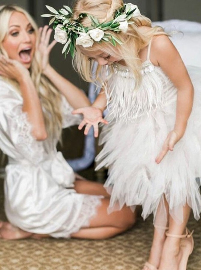 Modern A-Line Spaghetti Straps Asymmetry Flower Girl Dress with Feathers Beading