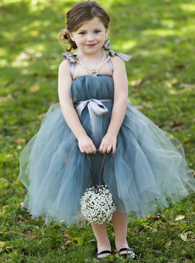 A-Line Straps Knee-Length Sage Tulle Flower Girl Dress with Sash