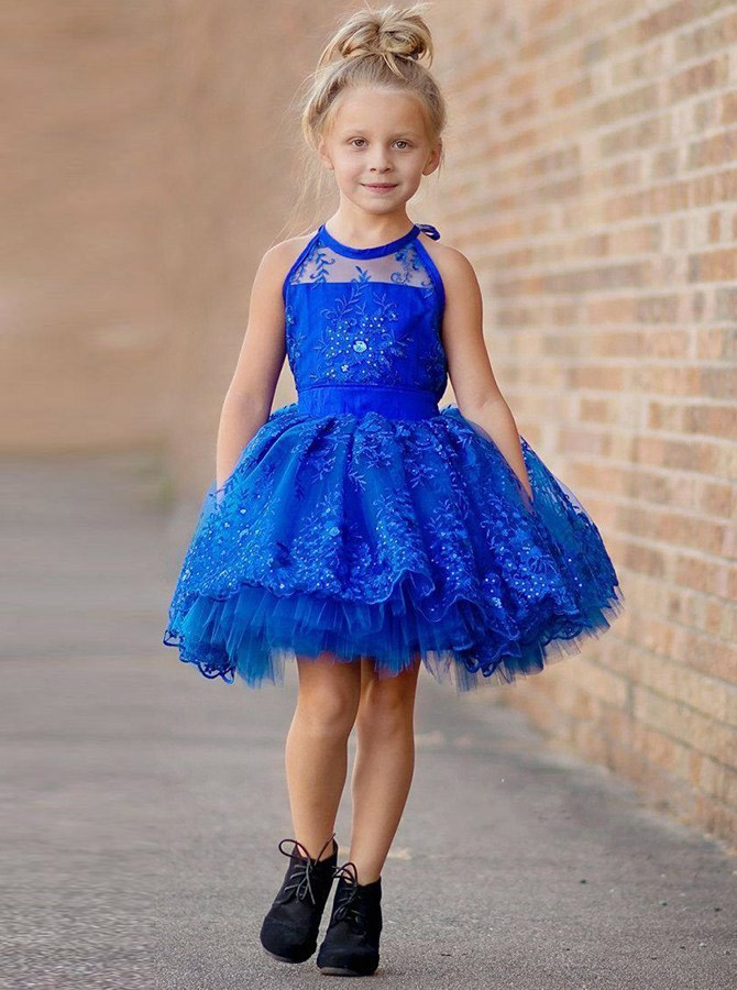 Ball Gown Round Neck Above-Knee Royal Blue Flower Girl Dress with Lace Beading