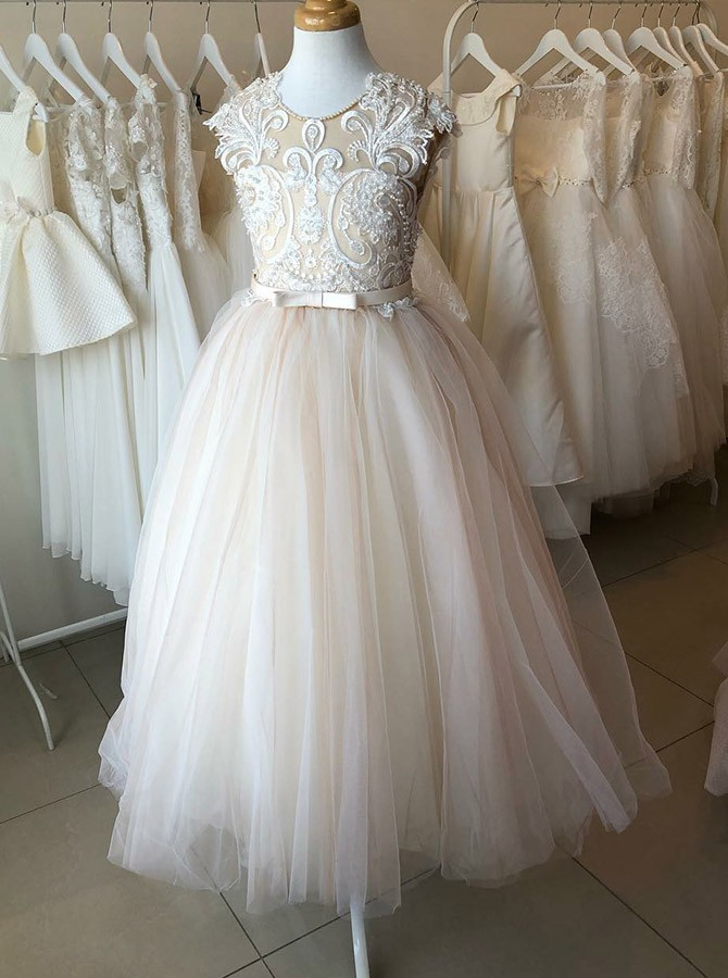 A-Line Round Neck Floor-Length Flower Girl Dress with Appliques
