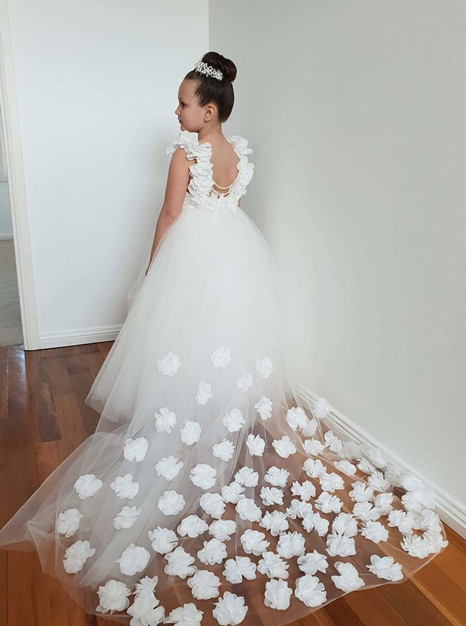 A-Line Round Neck White Backless Tulle Flower Girl Dress with Flowers