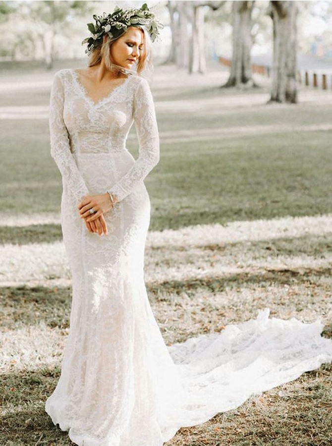 Bohemia Mermaid V-Neck Sweep Train Long Sleeves Lace Wedding Dress