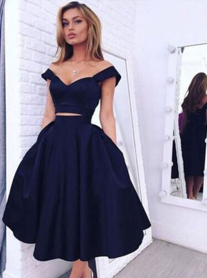 Two Piece Off-the-Shoulder Navy Blue Prom/Homecoming Dress with Pockets