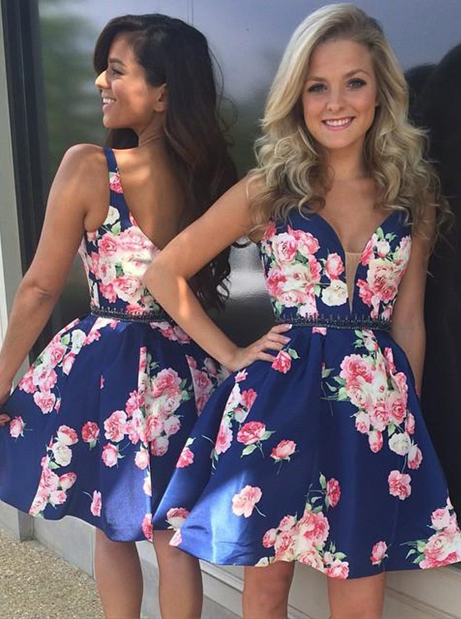 A-Line V-Neck Short Dark Blue Printed Homecoming Dress with Beading