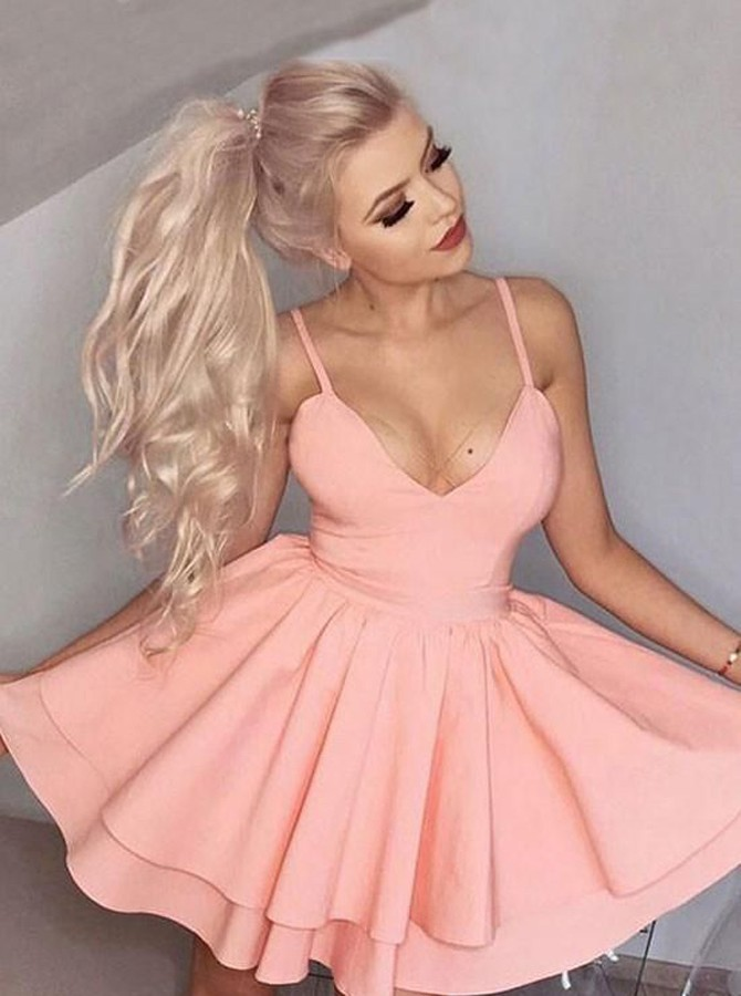 A-Line Spaghetti Straps Short Pink Tiered Homecoming Dress
