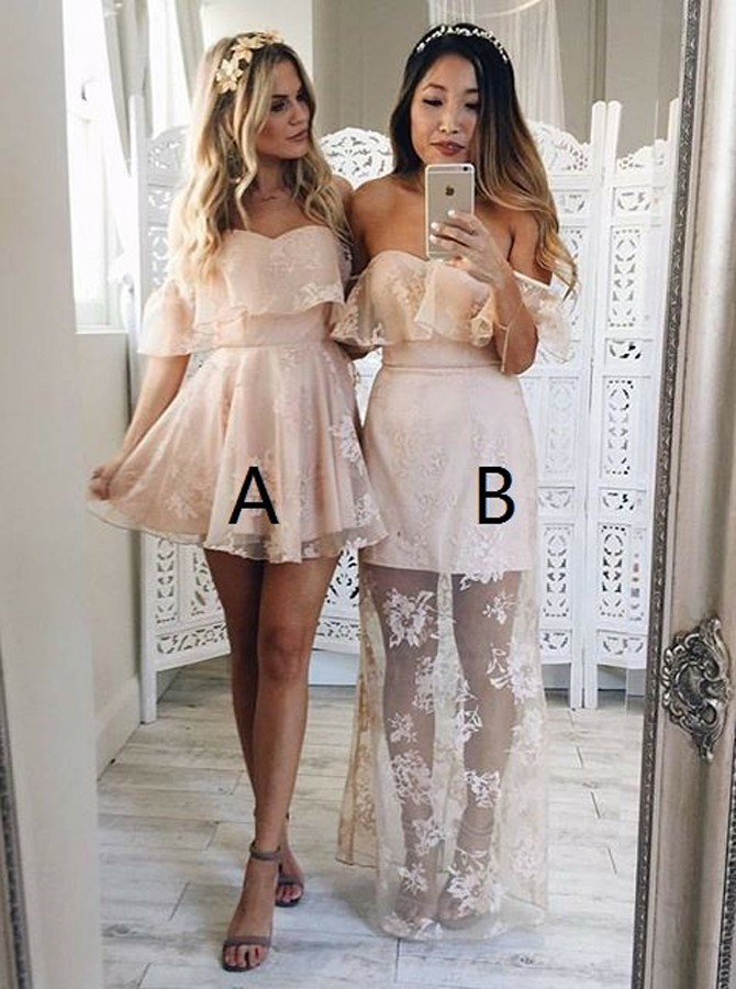 A-Line Off-the-Shoulder Sleeveless Short Pearl Pink Lace Prom Dress with Ruffles