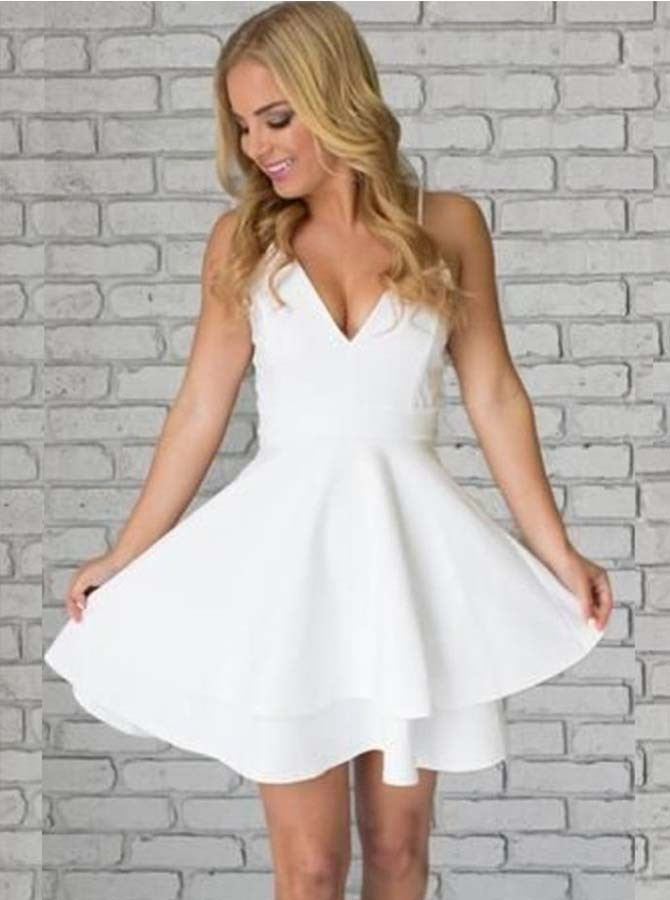 A-Line Spaghetti Straps Short Tiered White Satin Homecoming Dress with Lace