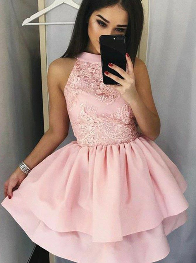 A-Line Jewel Short Pink Tiered Homecoming Dress with Appliques