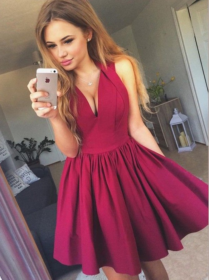 A-Line V-Neck Short Burgundy Satin Homecoming Dress with Pleats