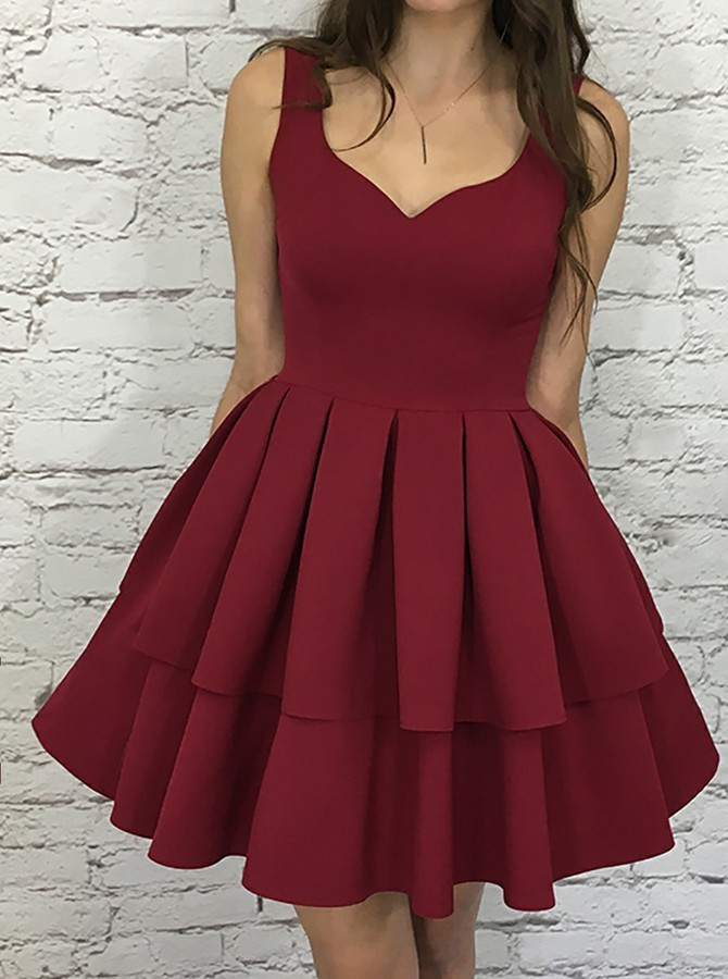 A-Line Scoop Sleeveless Short Burgundy Tiered Homecoming Dress