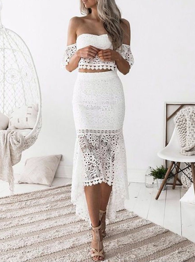 Two Piece Off-the-Shoulder White Lace Homecoming/Prom Dress