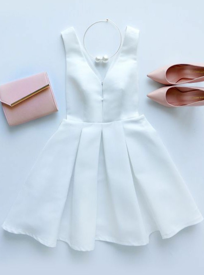 A-Line V-Neck Short White Satin Homecoming Dress with Pleats