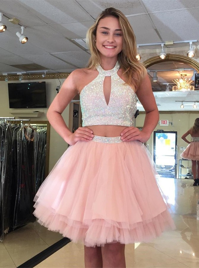 Two Piece Halter Backless Above-Knee Pink Tiered Homecoming Dress with Beading