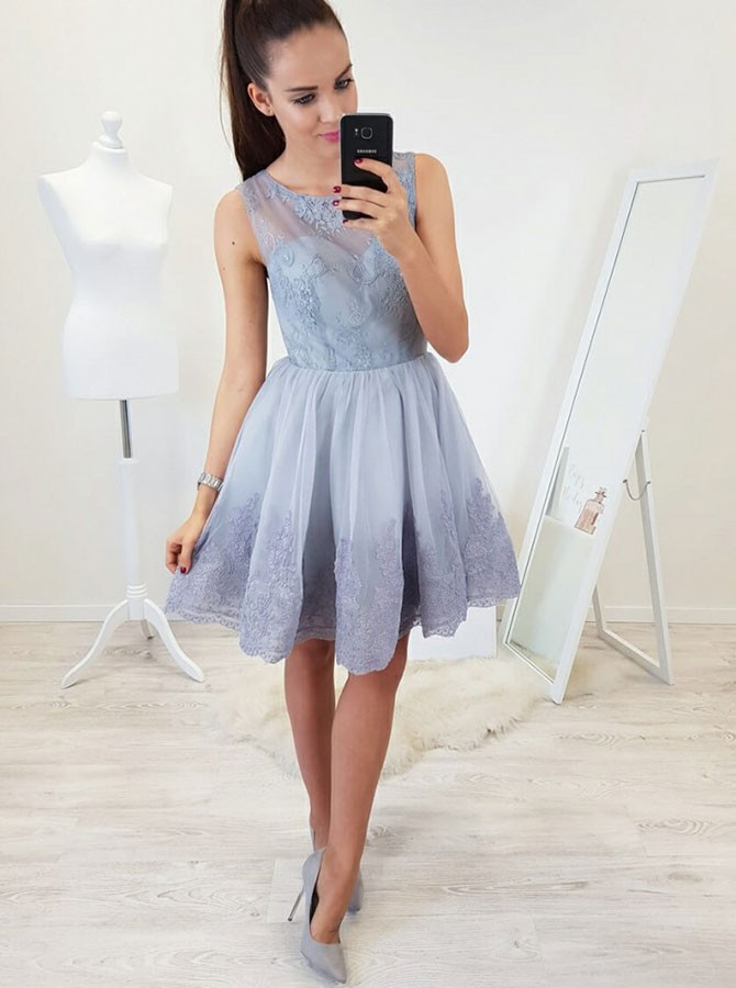 A-Line Round Neck Open Back Above-Knee Blue Homecoming Dress with Appliques