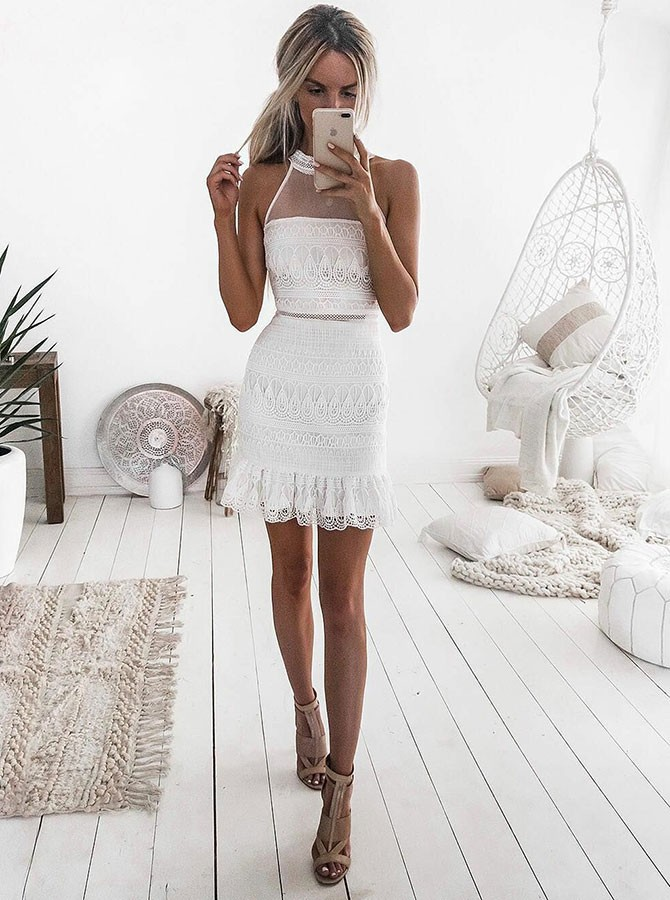 Sheath Jewel Sleeveless Short White Lace Homecoming Cocktail Dress