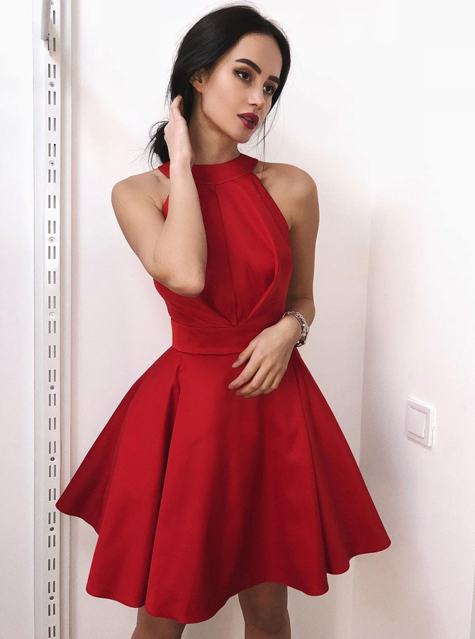 A-Line Jewel Above-Knee Red Satin Homecoming Dress with Pleats