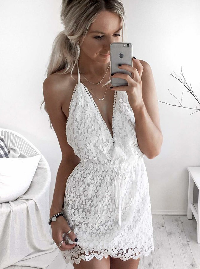 A-Line Halter Backless Short White Lace Homecoming Cocktail Dress