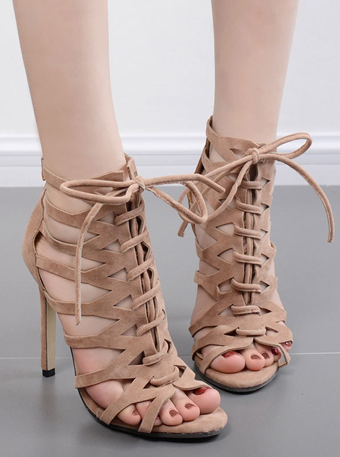 Brown Peep Toe Lace-up Stiletto Heels