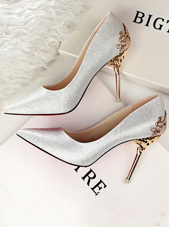 Silver Pointy Toe Stiletto Heels