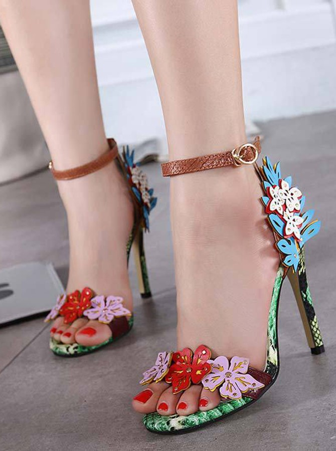 Ankle Strap Multi Color High Heels Sandals