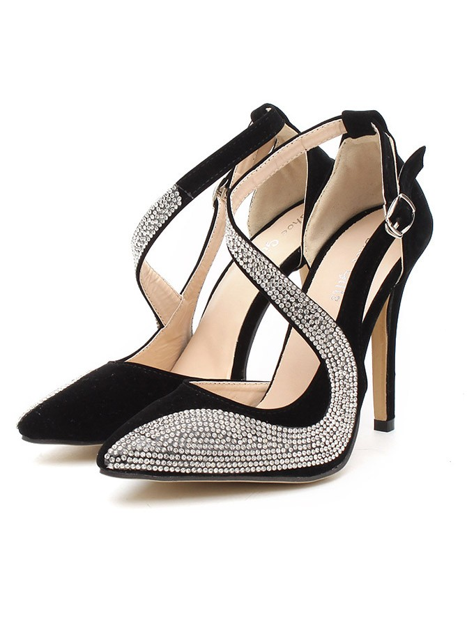 Stiletto Heel Closed Toe Party Shoes with Rhinestones