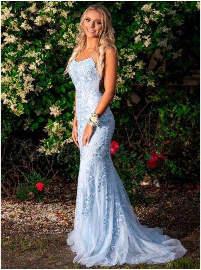 Mermaid Spaghetti Straps Long Blue Prom Dress Appliques Party Dress