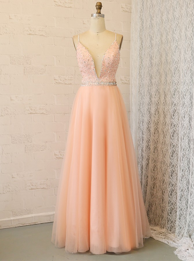 Spaghetti Straps Floor-Length A-Line Tulle Prom Dress with Beading